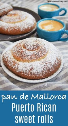 Pan de Mallorca are an egg-rich but light-textured gently sweet bread roll from Puerto Rico. They're easy to recognize coiled up and dusted with sugar and make a delicious breakfast or snack. New Year's Desserts, Peanut Butter Desserts, Cute Desserts, Christmas Desserts, No Bake Desserts, Delicious Desserts, Dessert Recipes, Party Desserts, Puerto Rico