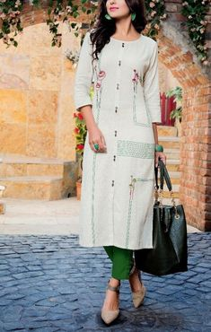 Cotton kurti with beautiful detailing.