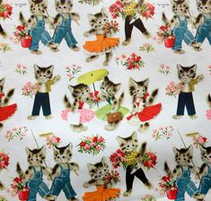 KITTENS With Flowers & Umbrellas Vintage by HolidayKitschklatsch, $9.99