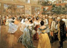 "Detail of Hofball in Wien by Wilhelm Gause  On this day in Johann Strauss II was born. Known as the ""Waltz King,"" Str. Johann Strauss, Carl Spitzweg, The Last Waltz, Palais Galliera, Dance Paintings, 1900s Fashion, Gilded Age, Dance Art, Masquerade Ball"