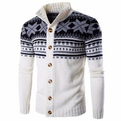 Snowflake Printing Knitted Cardigan Sweater Single Breasted Stand Collar Sweater for Men - NewChic