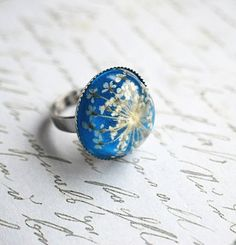 Real Flower Ring Resin Jewelry Queen Anne's Lace White Silver Elegant Vintage Spring #EasyPin