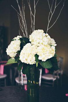 hydrangea | branches | wedding centerpiece