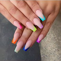 99 Adorable Pointed Nail Art Ideas That Inspiring You Creative Nail Designs for Short Nails to Create Unique Styles French Tip Acrylic Nails, French Tip Nail Designs, Best Acrylic Nails, Summer Acrylic Nails, Acrylic Nail Designs, French Tip Design, Long French Tip Nails, Colored Acrylic Nails, Colored Nail Tips French