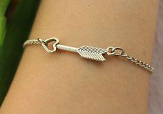 braceletlove heart arrow braceletsilver charm by gunrose on Etsy