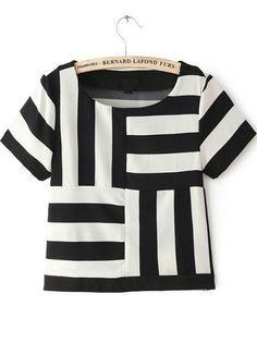 Shop Black White Striped Short Sleeve Chiffon T-Shirt online. Sheinside offers Black White Striped Short Sleeve Chiffon T-Shirt & more to fit your fashionable needs. Free Shipping Worldwide!