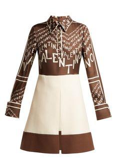 Valentino Logo Print Silk And Wool Mini Dress - Womens - Brown Multi Kpop Outfits, Casual Outfits, Korean Dress, Korean Fashion Trends, High End Fashion, Scarf Styles, Ideias Fashion, Mini Skirts, Dresses