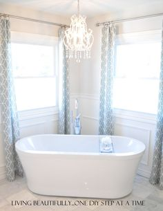 Freestanding tub in place of corner bathtub