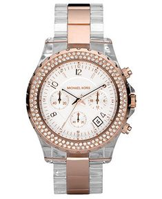 Michael Kors Watch, Women's Madison Clear Acetate Bracelet 42mm MK5323 - For Her - Jewelry & Watches - Macy's