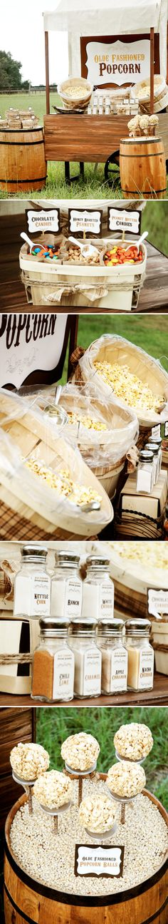 popcorn station - DIY wedding ideas and tips. DIY wedding decor and flowers. Everything a DIY bride needs to have a fabulous wedding on a budget! #diyweddingplanning #diy #wedding #favors #adiywedding