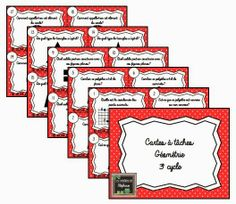 Les créations de Stéphanie : 20 cartes à tâches de géométrie pour le 3e cycle Math 5, 4th Grade Math, Math Games, Math Activities, Math Classroom, Classroom Organization, Teaching Kids, Teaching Resources, Math Blocks