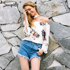 Brand Name: SIMPLEE Material: Polyester Clothing Length: Regular Style: Casual Fabric Type: Woven Sleeve Length(cm): Full Decoration: Bow Pattern Type: Floral Collar: Slash neck Sleeve Style: Flare Sleeve Model Number: BL195 Gender: Women