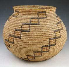 California Native American Indian Baskets,  - Mission Polychrome Basket
