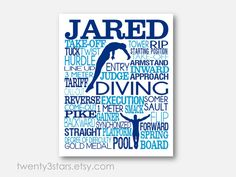 Men's Diving Typography Art Print, Perfect for Boy's Room Art, You Choose the Colors, Makes a Great Gift for any Diver or Diving Team Gift in blue and white