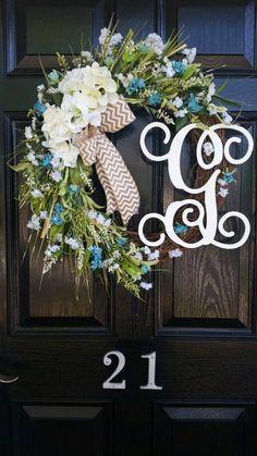 Grapevine Wreath Hydrangeas Personalized Monogram Initial Wedding Beach House Door Decor Aqua Teal B Door Monogram, Initial Wreath, Monogram Initials, Diy Wreath, Grapevine Wreath, Burlap Wreath, Burlap Ribbon, Chevron Ribbon, Wreath Ideas