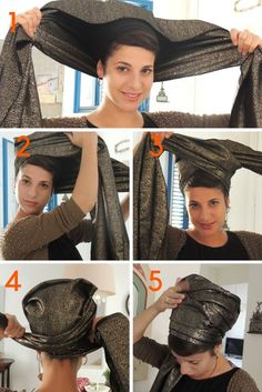 """This new Brocade Headscarf is amazing handmade """"Mitpachat"""" Head Covering, Scarf, Tichel fashionable and comfortable. * Handmade * Easy on easy off * Top quality fabrics * Prettily wrapped * compliments guaranteed. Hair Wrap Scarf, Diy Scarf, Head Scarf Styles, Hair Styles, Turban Tutorial, Hijab Tutorial, African Head Wraps, Turban Style, Style Challenge"""