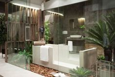 Bathroom:Amusing Plants Bathroom Design With Glass Door Also Led Lighting In Ceilinng Including Simple Vanity Sink Towels Shelves Underneath Plant For The Interior of Your Bathroom