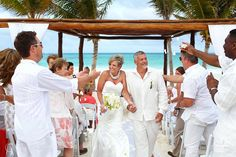 Riviera Maya beach wedding at Secrets Maroma. Such a fun couple in the Mexican Caribbean!  Mexico wedding photographers Del Sol Photography