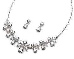 Amazon.com: USABride CZ Floral Jewelry Set, Cubic Zirconia Necklace & Earrings 588: Clothing