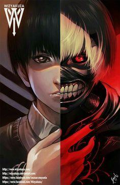 Kaneki Ken, ghoul, white hair, mask, dark hair, human, text; Tokyo Ghoul