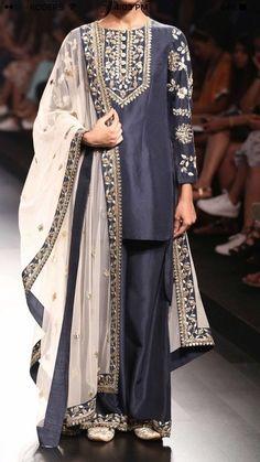 Buy Blue Color Plazo Suit by Akanksha Singh at Fresh Look Fashion Shadi Dresses, Pakistani Formal Dresses, Pakistani Fashion Party Wear, Pakistani Wedding Outfits, Pakistani Dress Design, Indian Dresses, Indian Outfits, Indian Fashion, Pakistani Designer Suits