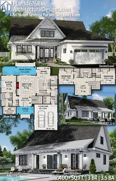 Love almost everythingwant to extend master bath and closet forward, add 3 or 4 car garage and bonus above garage. The Plan, How To Plan, Country Baths, Modern Farmhouse Plans, Farmhouse Style, House Blueprints, Sims House, House Layouts, House Floor Plans