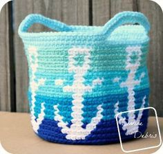 Anchors Away Basket free crochet pattern by DivineDebris.com
