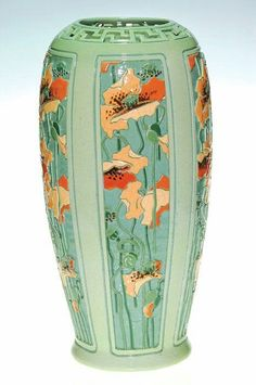 Rare and important Roseville Della Robbia vase carved and painted by Golde Barnell. The vase contains five panels, ea. Pottery Bowls, Ceramic Pottery, Ceramic Art, Slab Pottery, Thrown Pottery, Ceramic Bowls, Weller Pottery, Roseville Pottery, Vintage Vases