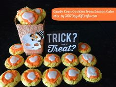 Super easy and cute Candy Corn Cookies made from Lemon Cake mix.