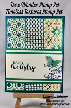 Three strips of DSP embossed for bkgrd, coordinating colors ink. Pretty card