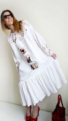 """Купить Платье в стиле бохо """"Облачное счастье"""" - белый, однотонный, отпуск на море, одежда для женщин"""