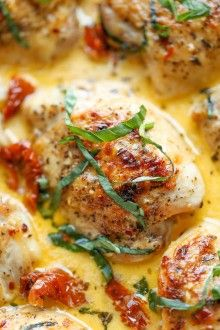 Chicken with Sun-Dried Tomato Cream Sauce