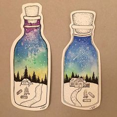 """Britt on Instagram: """"@jenaranyi We LOVE your work. Thanks for your inspiration! These nifty jars are by my 10 year old. Many weeks of pen and watercolor…"""""""