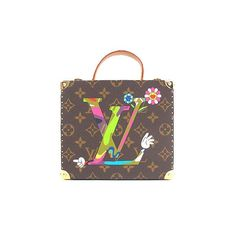 Brown and tan monogram coated canvas limited edition jewelry box with  multicolor logo at front 3e7a6e64fca63
