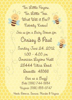 Bumble Bee Baby Shower Invitation Amyscustomgreetings