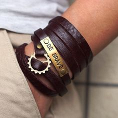 BE BRAVE Men's Personalized Jewelry ,Custom hand stamped bracelet, Personalized Leather Cuff Bracelet,Personalized Leather WRAP Bracelet
