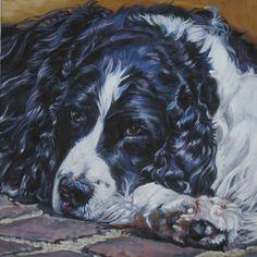 English Springer Spaniel art print CANVAS print of LA Shepard painting 12x12. $39.99, via Etsy.