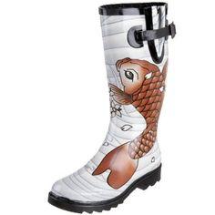 Amazon.com: Chooka Women's Koi Tattoo Rainboot,Light Blue,9 M: Shoes