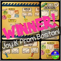 I'm so happy to announce Joy K from Boston as the winner of the Algebra 2 word wall giveaway!