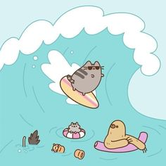 Pusheen surfing #surfinghumor #FatCat