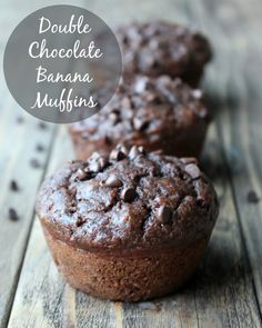 Double Chocolate Banana Muffins 137 calories. These are the best muffins ever. Super rich, moist, and beyond delicious. Make-ahead for healthy snacks the whole week.