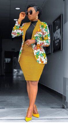 African Print Blazer Jacket with Mini Skirt - Ankara Print - African Dress - Two Piece Outfit - Hand Best African Dresses, Latest African Fashion Dresses, African Attire, Best African Dress Designs, Latest Ankara Styles, African Ankara Styles, African Wear For Ladies, African Outfits, African Print Dresses