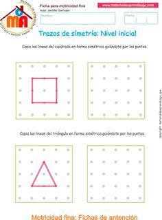 Trazos de simetría ejercicio 5: Copia las líneas del cuadrado y el triángulo de forma simétrica guiándote por los puntos. Visual Motor Activities, Visual Perception Activities, Activities For Kids, Montessori Education, Kids Education, Preschool Learning, Teaching, Geo Board, Mazes For Kids