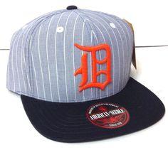 DETROIT TIGERS PINSTRIPE HAT Light-Blue-ish-Gray Flat-Bill STRAPBACK Men/Women #AmericanNeedle #DetroitTigers