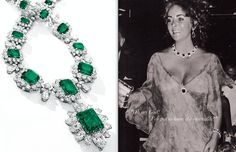 Elizabeth Taylor with her Bulgari emerald and diamond suite; book pages. Via Diamonds in the Library.