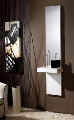 recibidor para entradas pequeñas Mueble de entrada acabado madera o lacado.