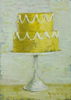 "Image of Yellow Wedding, Giclee Print, 5""x7""... This is a print of an oil painting. Let Them Eat Cake was a collaboration in Fall 2010 between Paul and Jordan Ferney. Jordan got to choose the subject (and bake all the cakes) and Paul painted them. Each one had a different saying to go along with it. ~ ""She was taking the train to New York with three bags, her French Bulldog and a large yellow cake."""
