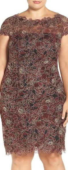 Plus Size Women's Tadashi Shoji Rose Embroidered Lace Sheath Dress