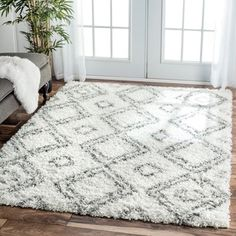 nuLOOM Alexa My Soft and Plush Moroccan Trellis White/ Grey Easy Shag Rug (8' x 10') | Overstock.com Shopping - The Best Deals on 7x9 - 10x14 Rugs