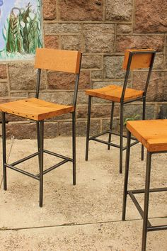 Bar Stool or Bench with Reclaimed Wood Seats & Steel Legs -- CUSTOM ITEM